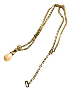 Dior Vintage Necklace Gold Plated with Crystal & Pearl Pendant - Dior Logo