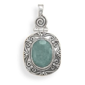 MMA Silver Stars Emerald Scroll Pendant