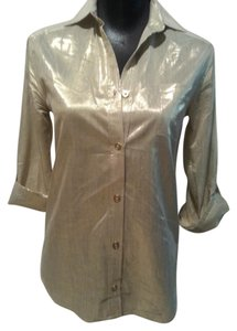 Alice + Olivia Metallic Blouse Button Down Shirt Gold