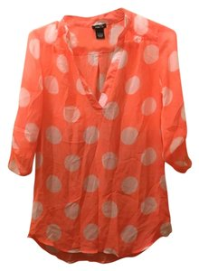 Rue 21 Sheer Polka Dot Tunic Top Neon Coral Pink