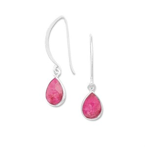 MMA Silver Stars Pear Ruby Dangle Earrings