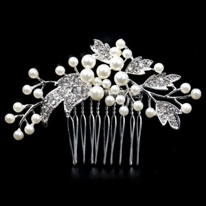 Cluster Pearl Flower Small Vine Vintage Romantic Branch Bridal Wedding Engagement Clear White Rhinestone Bridesmaid Prom
