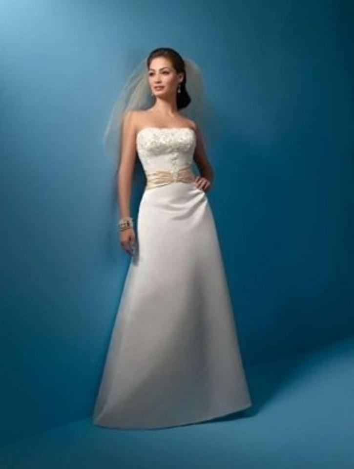 Alfred Angelo Ivory/Champagne Satin 2016 Formal Wedding Dress Size ...