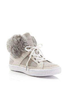 Rebecca Minkoff Leather Fur Rabbit High Top gray Boots