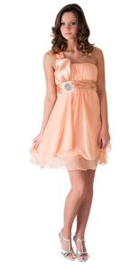 Peach One Shoulder Chiffon W/ Rhinestones Ornament Dress