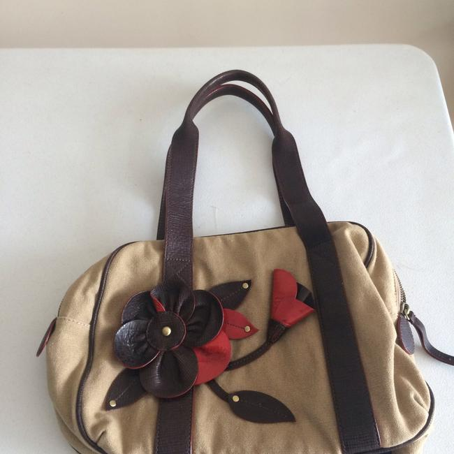 Item - Tan and Red Canvas Shoulder Bag