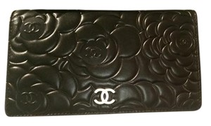 Chanel CHANEL Camellia Wallet GOLD CC Black Lamb Skin Leather Italy