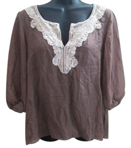 Anthropologie Silk Lace Chiffon Semi Sheer Formal Top Brown