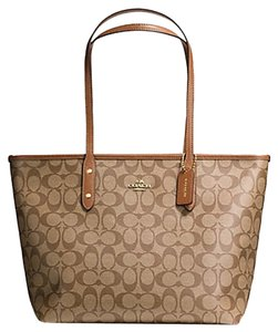 Coach Monogram Signature Leather Canvas Tote in Saddle Brown and Khaki