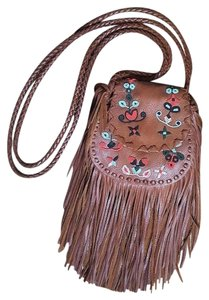 Ralph Lauren Brown Leather Fringed Beaded Cross Body Bag