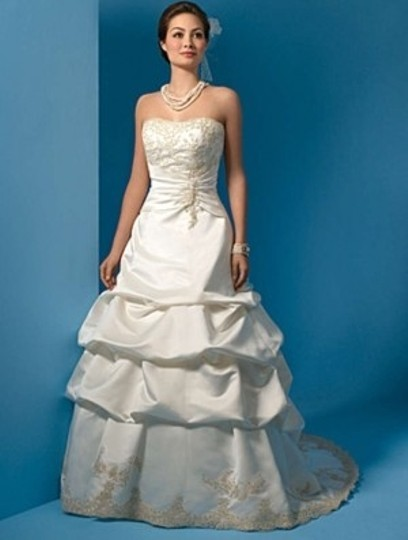 Alfred Angelo Ivory/Gold Satin 2008 Formal Wedding Dress Size 14 (L)