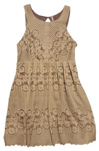 Free People short dress taupe Anthropology Eyelet Keyhole on Tradesy