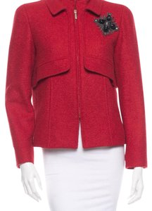 Oscar de la Renta Wool/Lama/Silk Applique New Condition Red Blazer