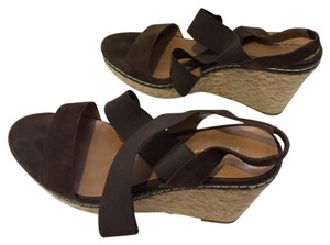 Franco Sarto Sandals Suede Brown Wedges