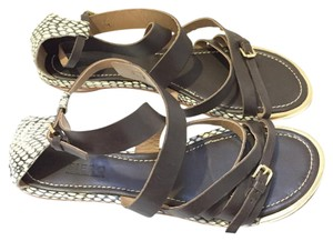 Lorenzo Masiero Masiero Leather brown w snake skin Sandals
