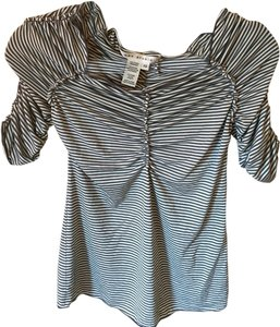 Max Studio Pinstripe Top White and gray pinstripes