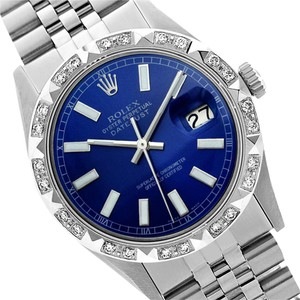 Rolex Preowned Datejust Blue Diamond Mens Watch 36mm 16014