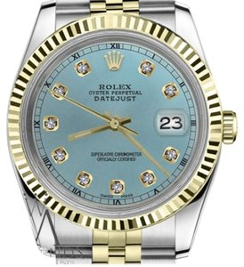 Rolex Women's 26mm Datejust2Tone Ice Blue Color Dial with Diamond Accent RT