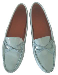 Salvatore Ferragamo Patent Leather Driving Loafers Blue Flats
