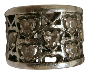 King Baby King Baby Wide Band Filigree Sterling Silver with CZ Heart stones 7.5