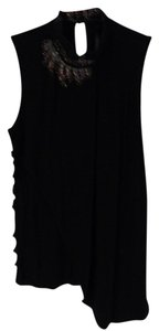 Karen Millen Beaded Lace Cotton Stylish Top Black