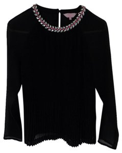 Ted Baker Pleated Embellished Stylish Statement Top Black