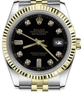 Rolex Ladies 26mm Datejust2Tone Black Color Dial with 8+2 Diamond Accent
