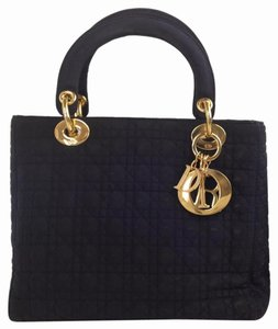 Dior Cannage Lady Satchel in Navy
