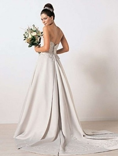 Alfred Angelo Ivory/Metallic Satin 1243 Formal Wedding Dress Size 12 (L)