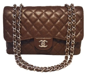 Chanel Classic Classic Flap Jumbo Jumbo Classic Relaxed Caviar Caviar Leather Classic Chocolate Classic Classic Flap Shoulder Bag