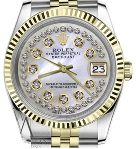 Rolex Ladies 31mm Datejust2Tone White MOP Mother Of Pearl String Diamond