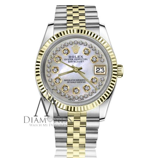 Rolex Men's 36mm Datejust2Tone White MOP Mother Of Pearl String Diamond Dial