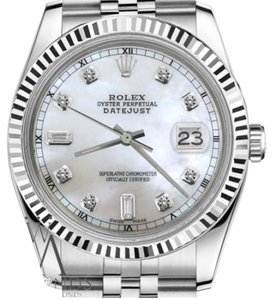 Rolex Man`s 36mm Datejust White MOP Mother Of Pearl 8+2 Diamond Dial RT