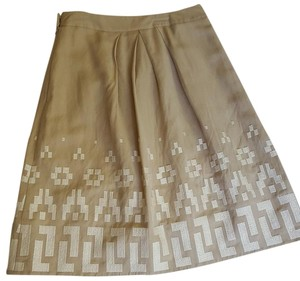 Victoria's Secret Linen Full Pleats White Tan Skirt khaki