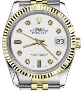 Rolex Men's 36mm Datejust2Tone White Color Dial with 8+2 Diamond Accent