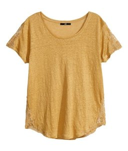 H&M Linen Scoop Neck Lace Trim T Shirt Golden Yellow