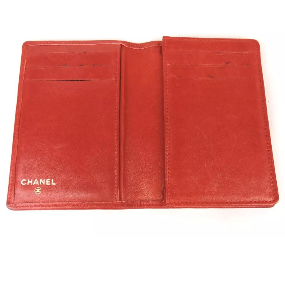 Chanel Red Bifold Credit Business Card Holder Wallet - Tradesy