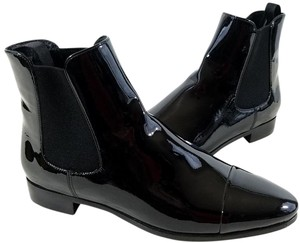 Prada Patent Leather Tonal Toe Cap Ankle Gores Made In Italy. Leather Sole Black Boots