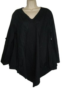 Roll Tab Sleeve Poncho Small Top Black