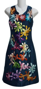 Wahine Couture Honolulu Embroidered Floral Silk Dress