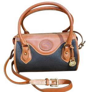 Dooney & Bourke Vintage R710 Satchel in Black and British Tan