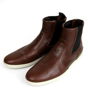 Gucci New Authentic Men's Leather Boot W/web Detail 11.5 G/us 12 295194