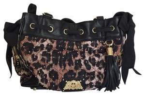 Juicy Couture Satchel in Black Brown Gold