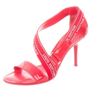 Louis Vuitton Patent Leather Monogram Embroidered Strappy Gold Hardware Red, White Sandals