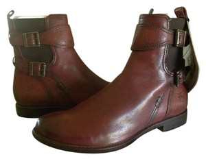 Frye Anna Gore Burnt Red Leather Boots