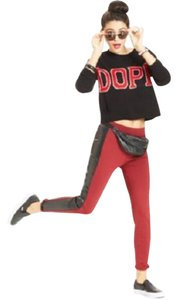 Tinseltown Faux Leather Ponte Red and Black Leggings