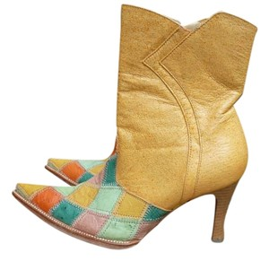 Dos De Oro Mexico Exotic Leather Western Multi Yellows Blue Green Boots