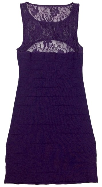 Item - Purple Bandage Bodycon Mid-length Night Out Dress Size 6 (S)