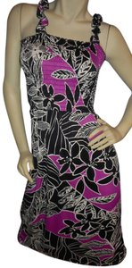 Uniti Casual short dress Fuchsia, white & black Stretchy Tropical Print No Iron Comfortable Sundress on Tradesy