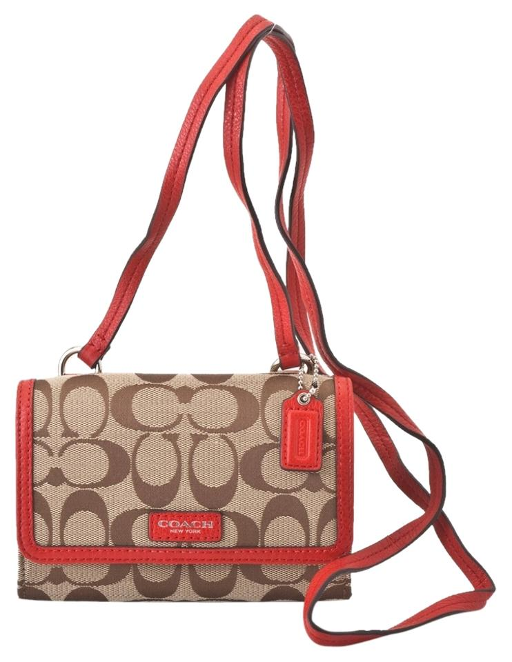 best service c5a1b d6e56 Coach Color: Khaki/Vermillion(Red) Crossbody Phone Case Phone Wallet 48%  off retail